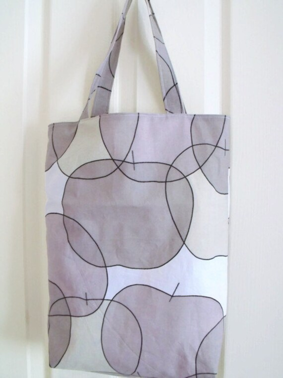 cotton shopping bag, shopper tote bag for everyday use, fully lined cotton carry all, grey apple print cotton fabric