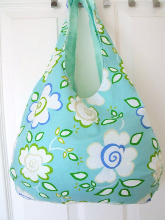 floral boho slouch shoulder bag, versatile bag for holidays, fully lined tote bag , cotton carry all, mint green floral cotton fabric