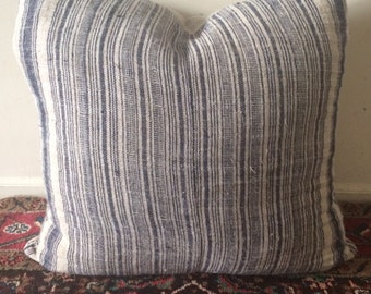 Vintage Chinese Indigo Grainsack Linen Pillow with Down filled pillow 20""