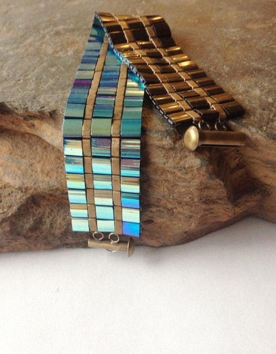 Rainbow Jet & Bronze Matte Tila Bracelet