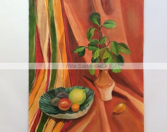 Original Nature Morte Vase and Fruits painting, acrylic, paper
