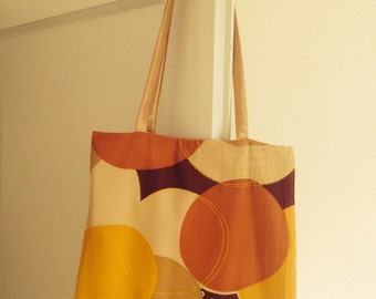 bag in silk, brown, yellow, brick red/shoulder bag