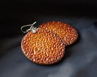 Round earrings. Gold with texture. Polymer clay. Silver hooks.