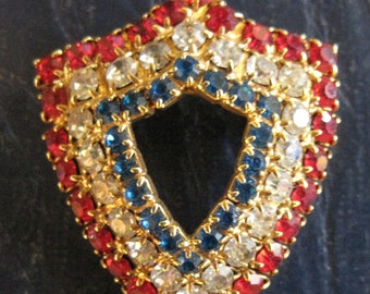 Vintage Patriotic Red White & Blue Shield Pin Brooch
