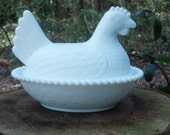 Vintage Milk glass candy dish, Glass nesting hen covered candy dish,Candy dish,Vintage candy dish,Covered glass dish,Farmhouse,Home decor
