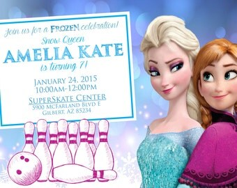 Frozen Bowling Birthday Party Invitation - Printable