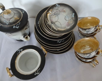 Summer Sale! Set of 20 Pieces Vintage Japanese Teapot with 6 Set Plates and Cups/ Hand Print Dragon/ Tea Set