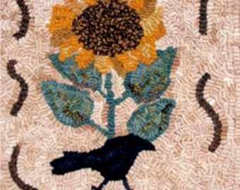 """Primitive Rug Hooking Pattern: """"Sunny Day"""" (12"""" x 15"""")"""