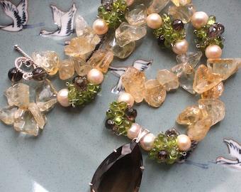 EVE - Semiprecious Statement Necklace featuring Citrine, Pearl, Peridot and Smokey Quartz