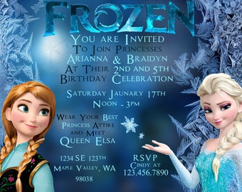 Frozen birthday invite girls