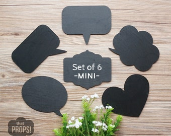 Set of 6 Mini Chalkboard Signs, Chalkboard Photo booth Props, Wood Speech Bubble Signs, Speech Bubble Props, Chalkboard Photobooth Signs