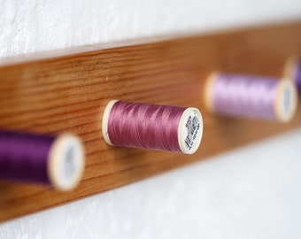 Handmade Solid Wood Purple Thread-Peg Wall Mounted Coat Rack 5 Hooks