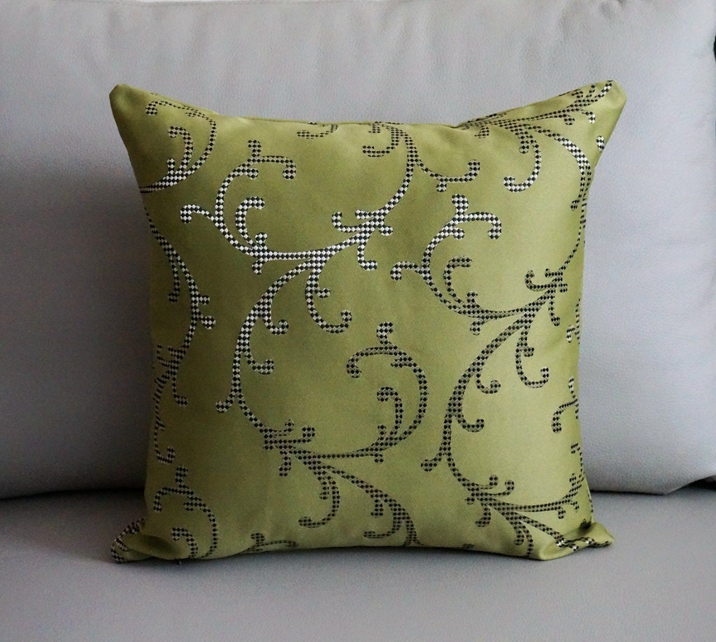 SALE Sage Green throw pillow cover Sage Green Metallic swirl