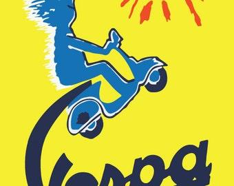 Vespa Vintage Poster by Savignac in Yellow, Canvas  Print Poster