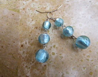 Aqua Dichroic Glass Earrings