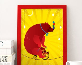 Bear on Bicycle  in Circus Poster   Circus Poster   Bear Poster    Nursery Art   Nursery Poster   Playroom Decor   Woodland Bear Poster