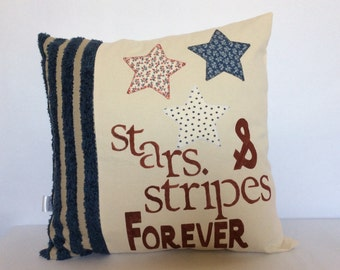 Stars and Stripes Pillow,Patriotic Pillow Cover, 4th of July Pillow, Independence Day,Red and white Blue pillow, USA flag Pillow, Euro Sham