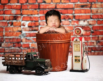 Digital Studio Backdrop Red Brick Gas Pump Bucket Scene Newborn Baby Photography