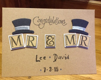 Handmade Mr & Mr wedding card personalised with names and date.