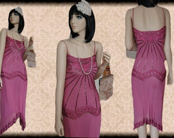 Pink Fuschia Art Deco Nouveau Downton Abbey flapper embellish bead sequin  20's charleston vintage Great Gatsby dress size UK 6 8 US 2 4