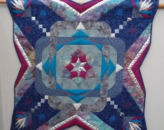 """Handmade Patchwork Art Quilt, Mixed Media Quilt Blue Maze Silver Star Burst, Machine Quilted with lots of stars and  unusual shape- 38"""""""