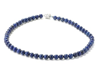 Sterling Silver Round Cut Blue Lapis Bead Necklace