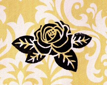Rose Stamp - Flower Stamp - Wood Mounted Rubber Stamp