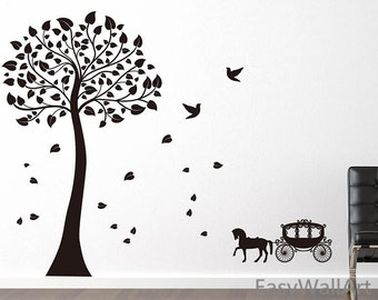 Black Tree Wall Decal, Carriage Wall Decal, Vinyl Black Tree Decals, Cab Decal, Bedroom Decal, Office,& Birds, Black Tree Wall Stickers #T2