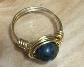 Russian Jade 8mm Stone Wire Wrapped Ring in Copper, Stainless Steel, Gold Tone, or Argentium Sterling Silver 20 g Wire