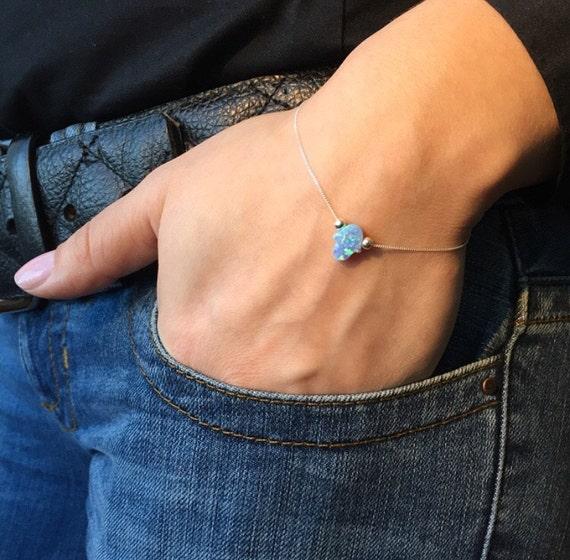Mini Lab Opal Hamsa Bracelet with Sterling Silver Chain