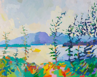 """10 x 12"""", View from the Maypole to Mt Desert Island, Maine, limited giclee edition of ten."""