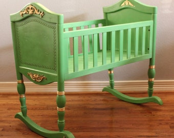 Hand Painted Heirloom Cradle/Baby Shower Gift/First Baby/Baby Bed/Bassinet