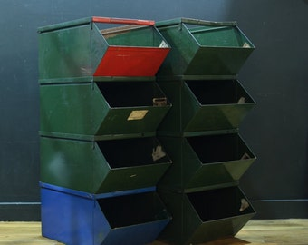Vintage Industrial Storage Bins - Eight Bins Available