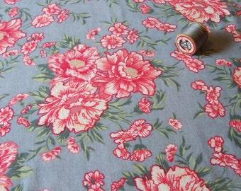 vintage floral lightweight wool/cotton dressmaking fabric