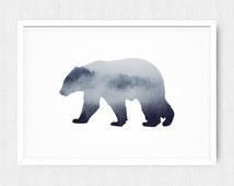 Bear Print, Forest Photography, Bear Wall Print, Bear Prints, Forest Print, Bear Art, Bear Printable, Forest, Tree Art, Trees, Printable