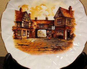 Berkshire English Bone China Plate Village Scene