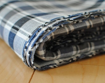 Japanese Fabric Linen Fabric Plaid Black and Blue