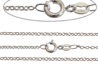 Italian Silver Plated Fine 1.6mm Trace Chain Necklace Various Sizes