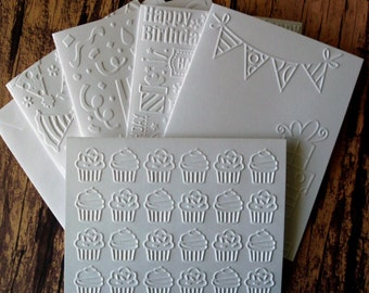 Assorted Birthday Cards, Set of 5, Embossed Birthday Card Set, Embossed Cupcake Birthday Cards, Birthday Card Assortment, Presents Card