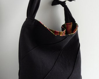 Black Textured Knit Slouch Tote