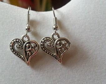 Filigree Heart Silver Dangle Earrings - Surgical Steel Earwires