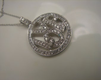Sterling and CZ Love Necklace 0024
