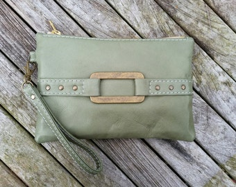 Leather clutch bag, green leather wristlet