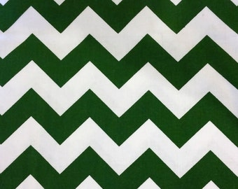 Chevron Stripes - Kelly Green and White Fabric