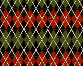 Christmas At Home - Black Argyle Fabric