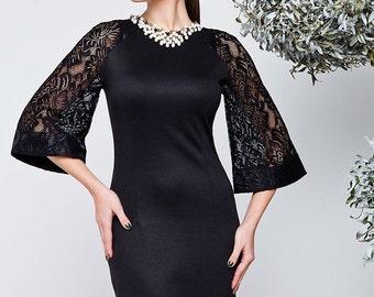 Black dress Combined dress Christmas dress Autumn dresses Winter dress  Occasion dress for women