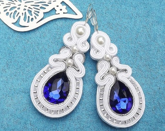 Crystals Gleam  Sapphire & White  earrings