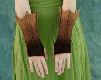 Brown Gauntlets -Flared Gauntlets - Dragon Cuffs - Fingerless Mittens - Bat Cuffs - Hand Felted Wool Mittens - Arm Warmers