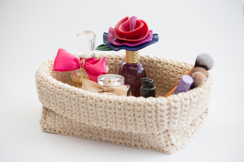 Handmade Crochet Basket : Handmade crochet rectangular basket