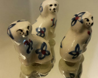 Dogs Trio of Mini Shaffordshire Looking Blue and White  Figurines Vintage